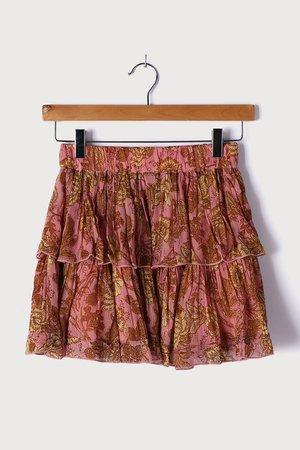 Pink Floral Print Skirt - Tiered Mini Skirt - Metallic Mini Skirt - Lulus