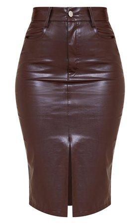 Chocolate Faux Leather Split Hem Midi Skirt | PrettyLittleThing USA