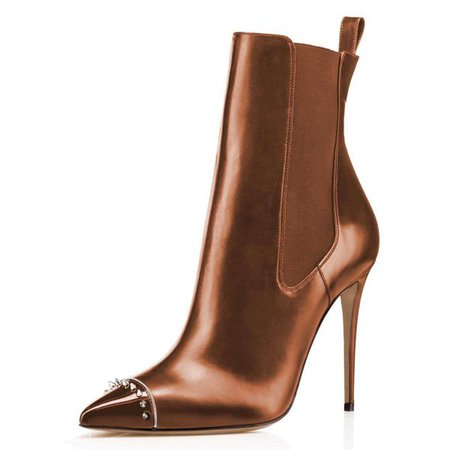 Chocolate Studded Pointy Toe Stiletto Boots Fashion Ankle Booties for Formal event, Party, Music festival, Date, Anniversary, Going out | FSJ