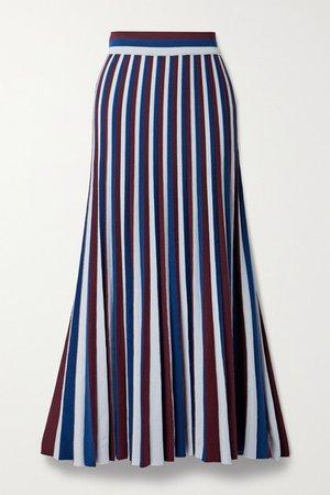 Pleated Striped Merino Wool Maxi Skirt - Navy
