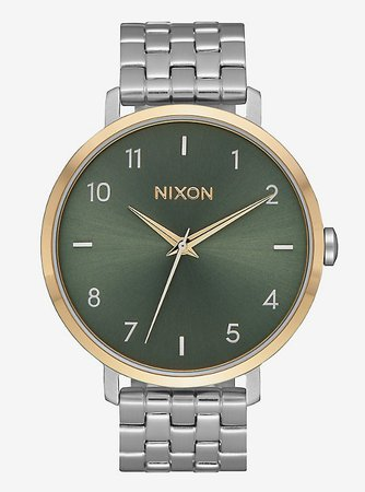 Nixon Arrow Silver Gold Agave Watch