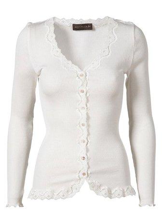 Rosemunde Vintage Lace Cardigan in Silk - White