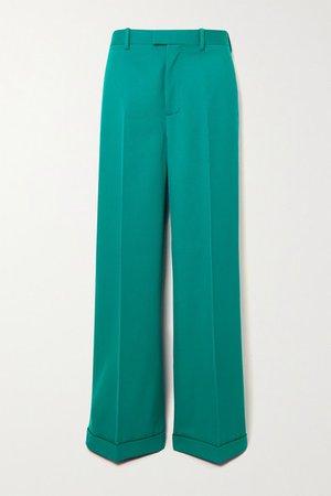 Wool-twill Straight-leg Pants - Blue