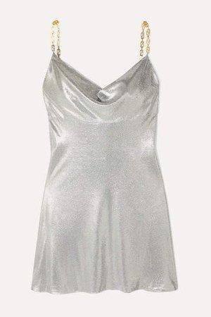 Embellished Satin Mini Dress - Silver