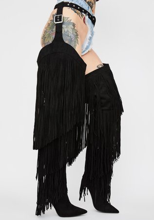 Fringe Thigh High Chap Boots