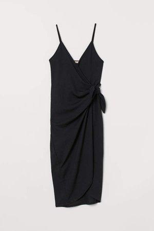 Wrap Dress with Ties - Black