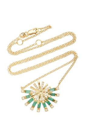 Carol Kauffmann Sunshine 18K Gold, Emerald and Diamond Necklace