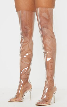 Clear Thigh High Boot | Shoes | PrettyLittleThing