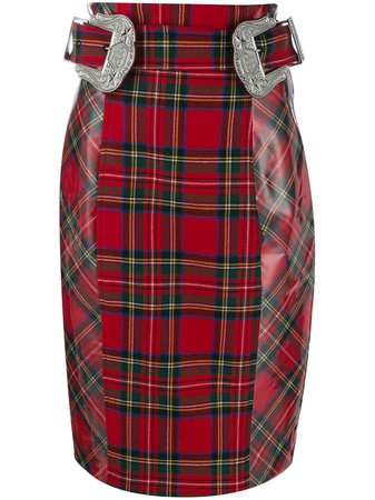 Shop red Philipp Plein Tartan pencil skirt with Express Delivery - Farfetch