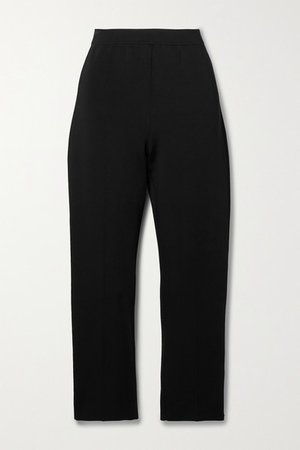 Treeca Cropped Woven Straight-leg Pants - Black