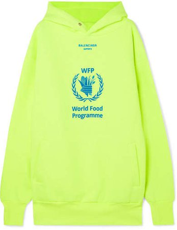 World Food Programme Printed Neon Cotton-blend Jersey Hoodie - Yellow