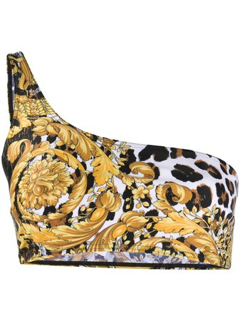Versace Baroque Leopard-Print Bikini Top Aw20   Farfetch.Com