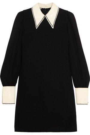 Miu Miu | Sequined cady and chiffon mini dress | NET-A-PORTER.COM