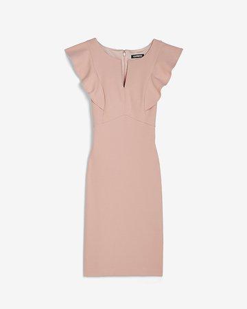 Ruffle Sleeve Sheath Dress   Express