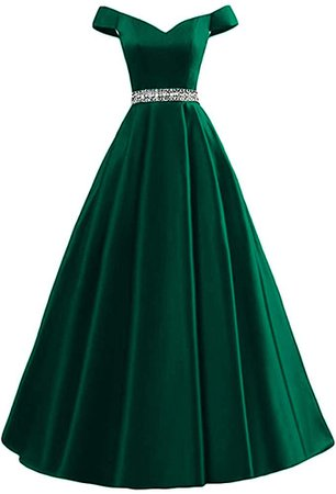 Dymaisei Women's Beaded Off Shoulder A-Line Evening Prom Dresses 2019 Long Formal Dresses US26W Emerald Green at Amazon Women's Clothing store