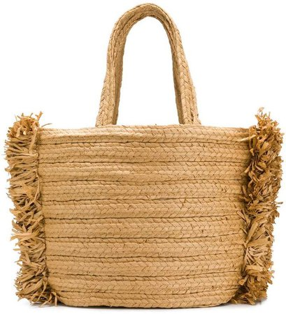 Dorothee fringed sides straw tote