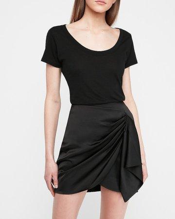 Satin Drape Front Mini Skirt