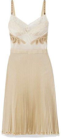 Lace And Leather-trimmed Satin And Pleated Crepe De Chine Dress - Beige