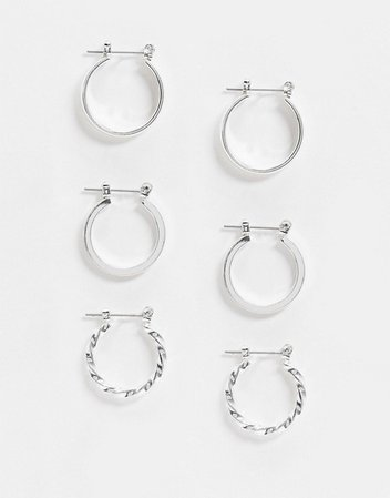 ASOS DESIGN pack of 3 20mm hoop earrings in silver | ASOS