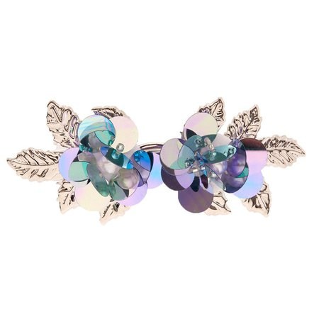 Silver Sequin Flower Hair Barrette - Blue | Icing US