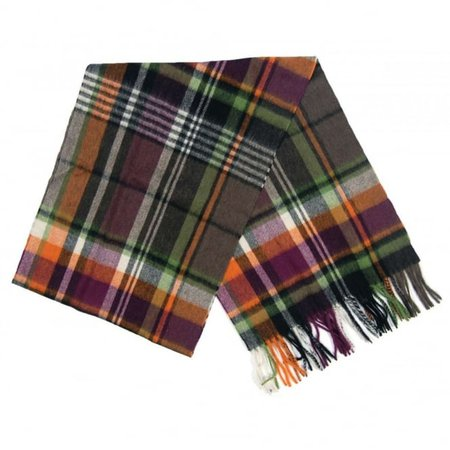 Barbour Bright Country Plaid Scarf Olive Purple - Mens Clothing from Attic Clothing UK
