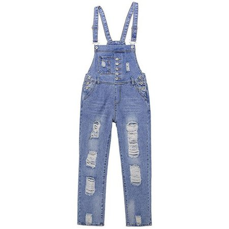 Suspender Jeans Washed Hole Casual Denim Overall ($26)