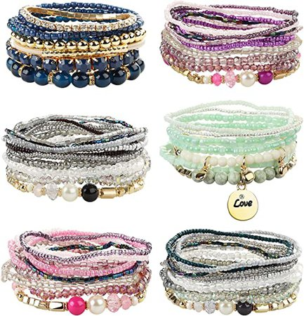 FIBO STEEL 6 Sets Bohemian Stackable Bead Bracelets for Women Stretch Multilayered Bracelet Set Multicolor Jewelry: Jewelry