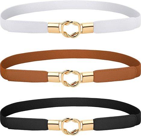 3 Pieces Women Skinny Waist Belt Elastic Thin Belt Waist Cinch Belt for Women Girls Accessories (White Red Black) at Amazon Women's Clothing store