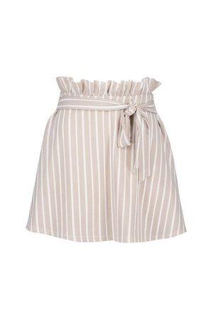 Tonal Stripe Paperbag Waist Skater Skirt | Boohoo