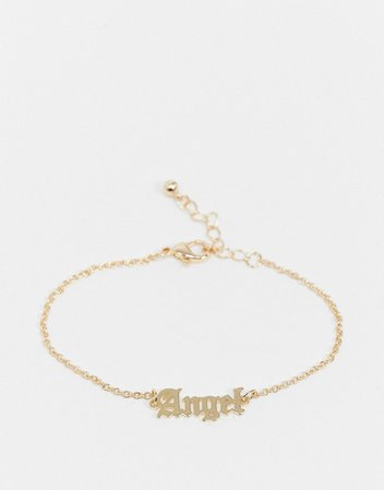 ASOS DESIGN chain bracelet with angel gothic font in gold tone | ASOS