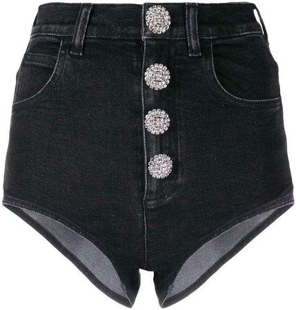high-waisted diamanté micro-shorts