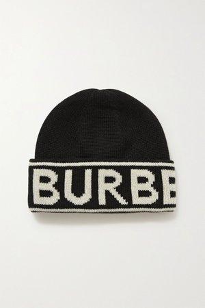 Black Intarsia cashmere beanie | Burberry | NET-A-PORTER