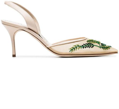 cream and green nymphlyne 70 mesh embroidered pumps