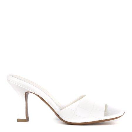 Aldo Castagna White Embossed Leather Open Toe Sandals