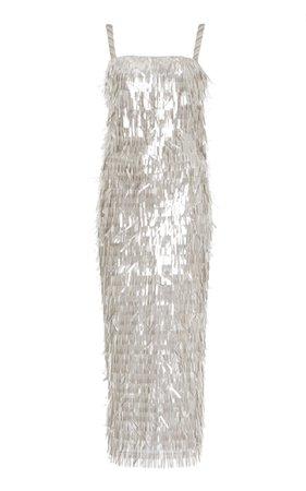 Ciel Electrique Sequined Midi Dress by Sandra Mansour | Moda Operandi