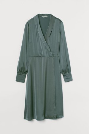 Shawl-collar Wrap Dress - Green