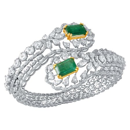 Emerald Diamond 18k Gold Cuff Bracelet