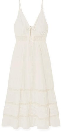 Shelley Lace-trimmed Georgette Midi Dress - Ivory