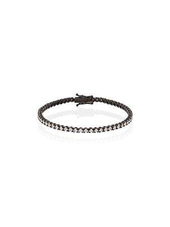 SHAY 18kt Black Gold Pavé Diamond Tennis Bracelet - Farfetch