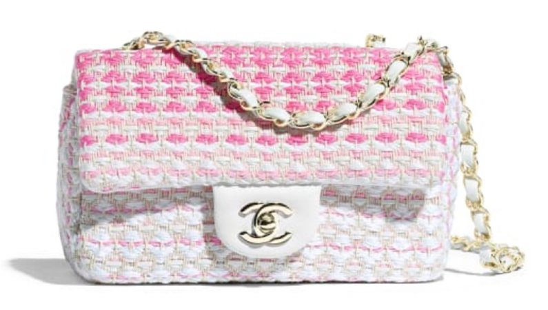 Chanel Tweed White and Pink Bag