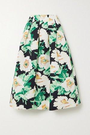 Pleated Floral-print Faille Midi Skirt - Green