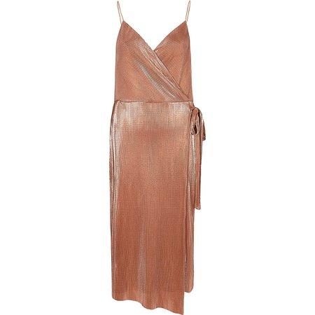 Pink metallic plisse tie waist midi dress - Bodycon Dresses - Dresses - women
