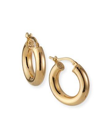 Bottega Veneta Domed Hoop Earrings, Gold