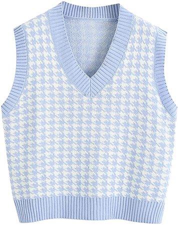 Amazon.com: Women's Knit Sweater Vest Y2K Argyle Plaid E-Girls Preppy Style 90s Sleeveless Crop Knitwear Tank Top Streetwear (White, M): Clothing