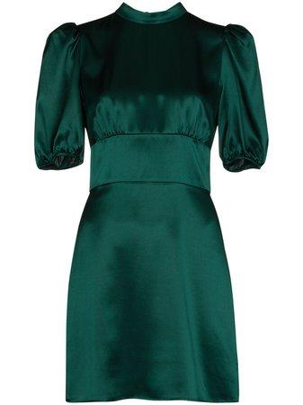 Reformation high-shine silk mini dress green 1307588EMR - Farfetch