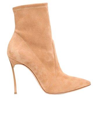 Casadei Beige Suede Blade Ankle Boots