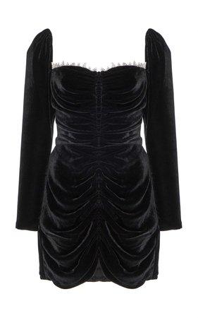 Markarian Crawford Ruched Velvet Mini Dress