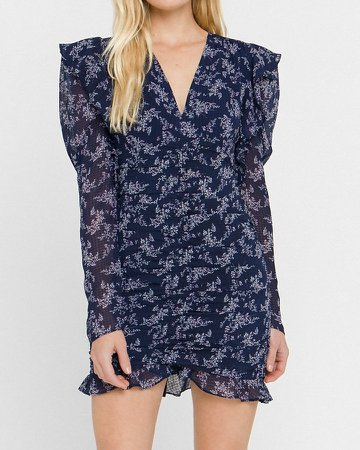 Endless Rose Floral Ruched Mini Dress
