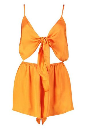 Knot Front Playsuit | Boohoo orange