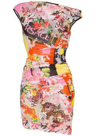 Versace Robe Courte Imprimée à Design Drapé - Farfetch